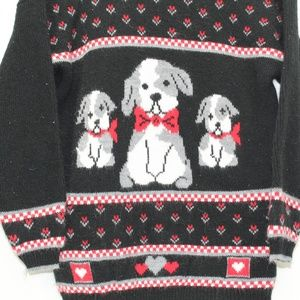 Vintage Sweaters - Vintage Cute Puppy Dog Sweater